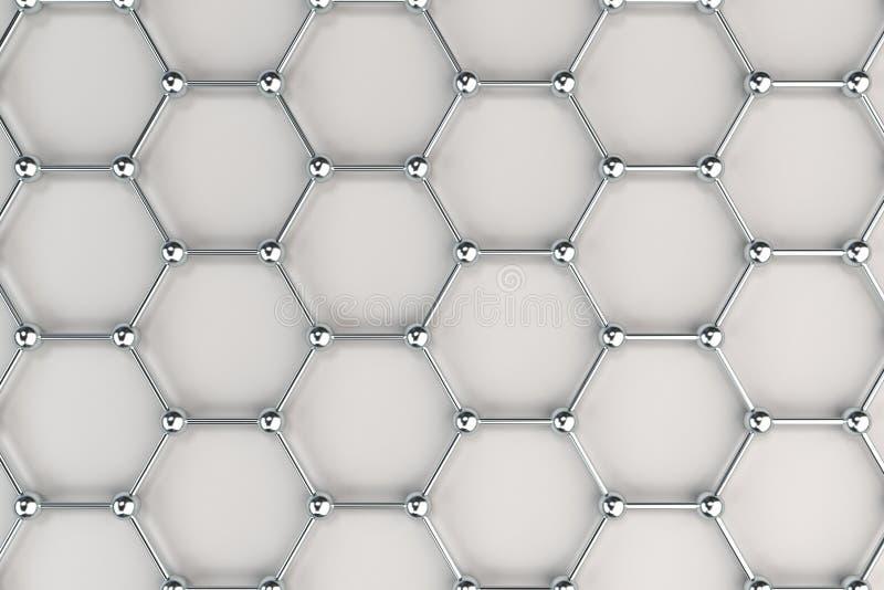 Graphene atom- struktur på vit bakgrund vektor illustrationer