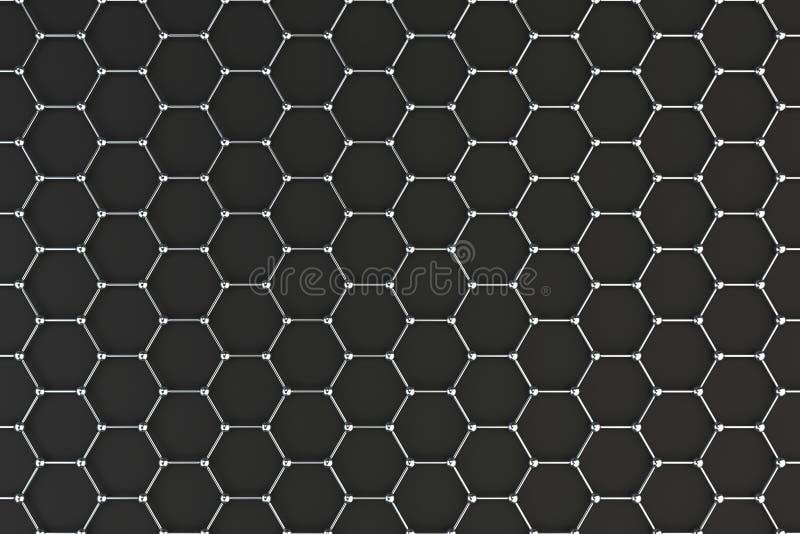 Graphene atomic structure on black background royalty free illustration