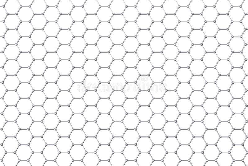 Graphene atoomstructuur, nanotechnologieachtergrond 3D Illustratie royalty-vrije illustratie