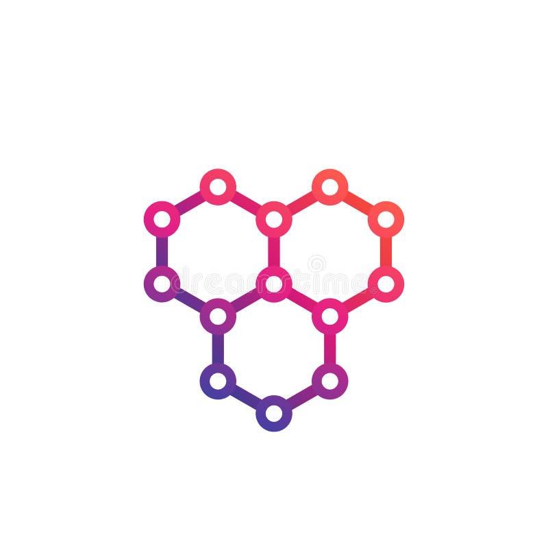 Graphene, logotipo atómico del vector de la estructura del carbono stock de ilustración