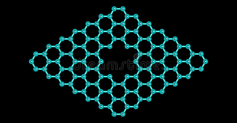 Graphene molecular structure with a pore isolated on black. Pore in graphene which is an allotrope of carbon in the form of a two-dimensional, atomic-scale vector illustration