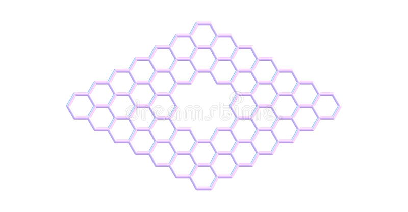 Graphene molecular structure with a pore isolated on white. Pore in graphene which is an allotrope of carbon in the form of a two-dimensional, atomic-scale stock illustration