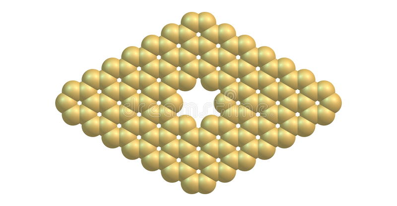 Graphene molecular structure with a pore on white. Pore in graphene which is an allotrope of carbon in the form of a two-dimensional, atomic-scale, hexagonal stock illustration