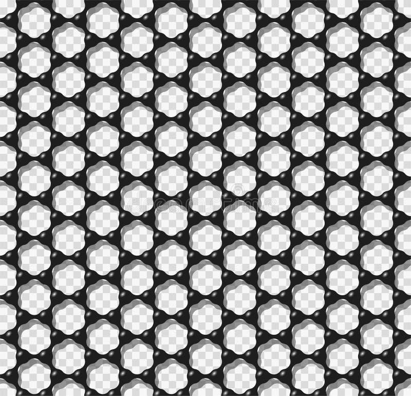 Graphene transparent seamless pattern vector illustration. Carbon atoms forming black hexagonal mesh like graphene monolayer seamless texture. Science or vector illustration