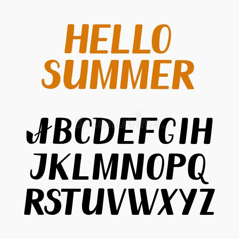 Graphhics del vector Alfabeto inglés, impresión de la mano, letras, caligrafía, poniendo letras stock de ilustración