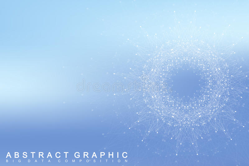 Graphic abstract background communication. Big data complex with compounds. Perspective backdrop. Minimal array Big data. Digital data visualization vector illustration