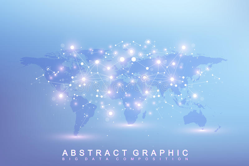 Graphic abstract background communication. Big data complex with compounds. Perspective backdrop with World Map. Minimal array Big data. Digital data vector illustration