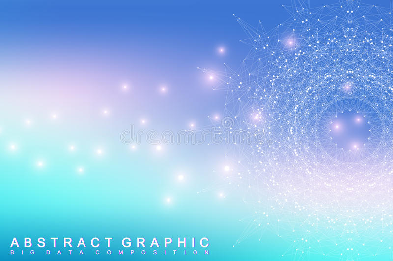 Graphic abstract background communication. Big data complex. Perspective backdrop of depth. Minimal array with compounds lines and dots. Digital data vector illustration
