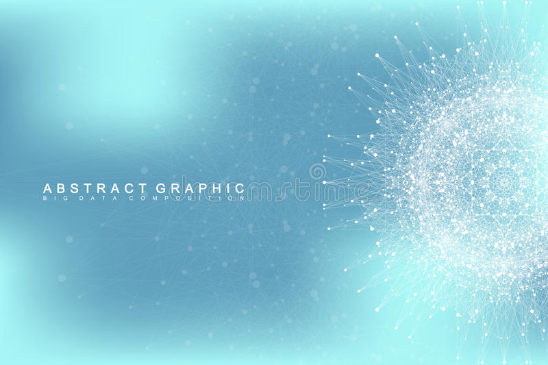 Graphic abstract background communication. Big data visualization. Connected lines with dots. Social networking. Illusion of depth and perspective. Vector stock illustration