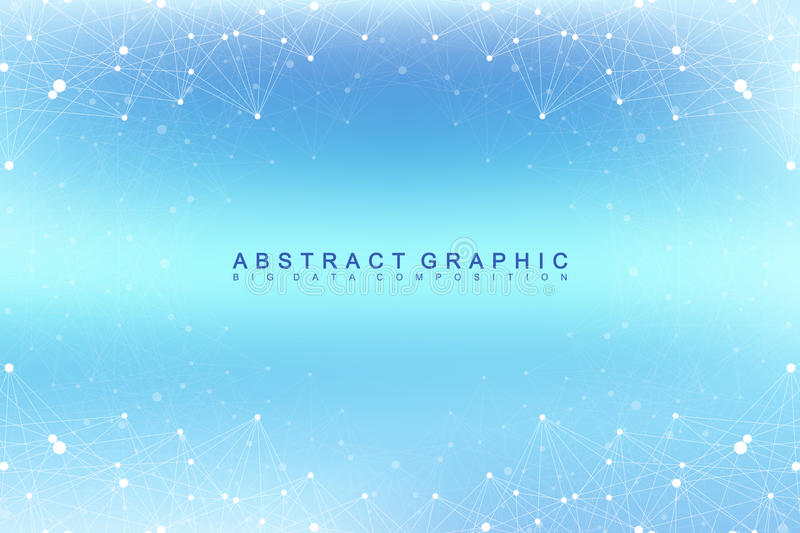 Graphic abstract background communication. Big data visualization. Perspective backdrop with connected lines and dots. Social networking. Illusion of depth vector illustration
