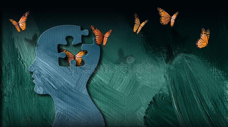 Graphic abstract of dreamlike butterflies flowing from iconic puzzle opening in mind. Graphic abstract concept of birth of idea or being emotionally set free royalty free illustration