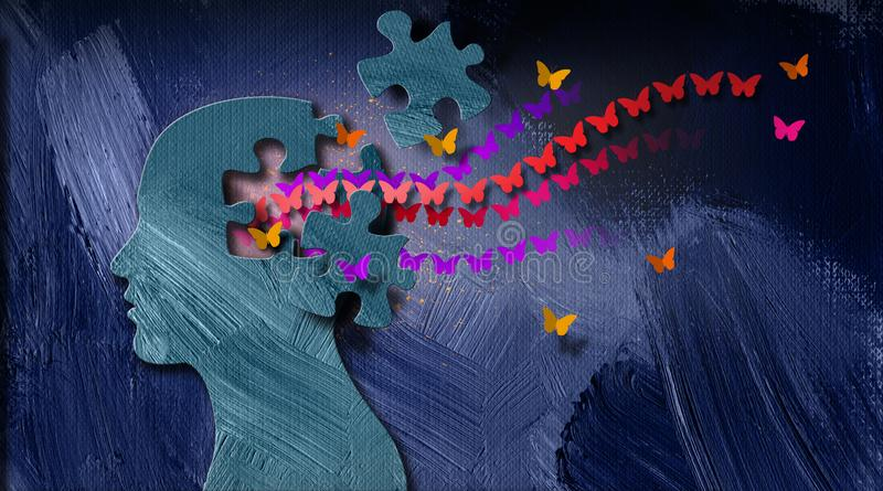 Graphic abstract stream of dreamlike butterflies flowing from puzzle opening in mind stock illustration