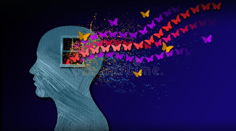Graphic abstract of dreamlike butterflies flowing from iconic open window in mind. Graphic abstract concept of birth of idea or being emotionally set free royalty free illustration