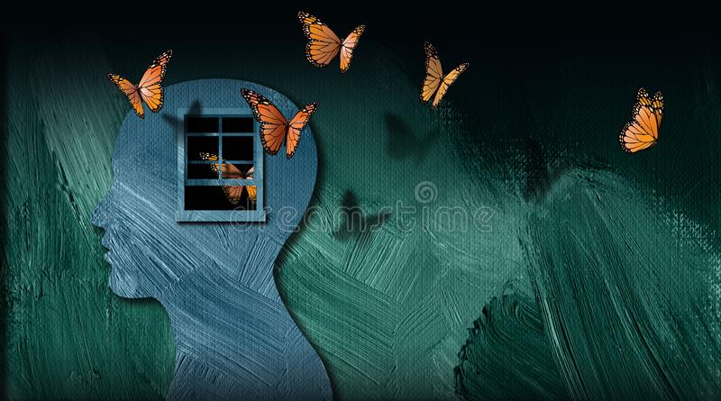 Graphic abstract of set free butterflies escaping opening window of the mind vector illustration