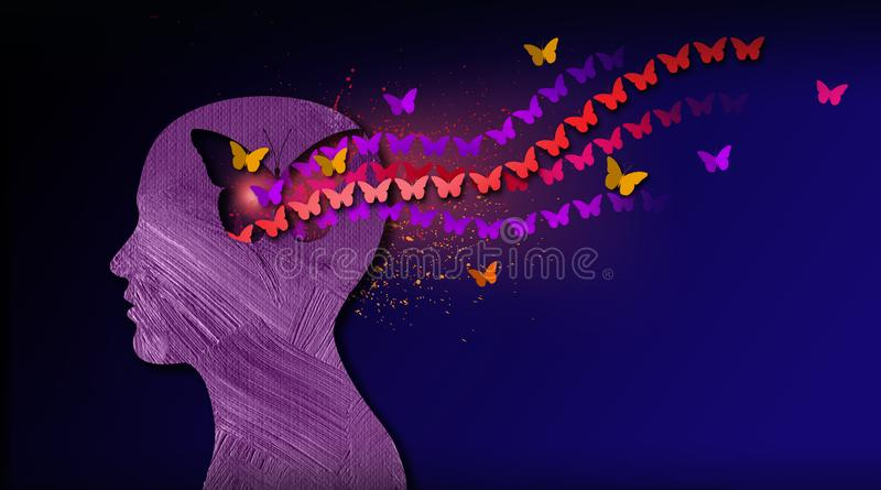 Graphic abstract stream of dreamlike butterflies flowing from iconic puzzle opening in mind. Graphic abstract concept of birth of idea or being emotionally set vector illustration