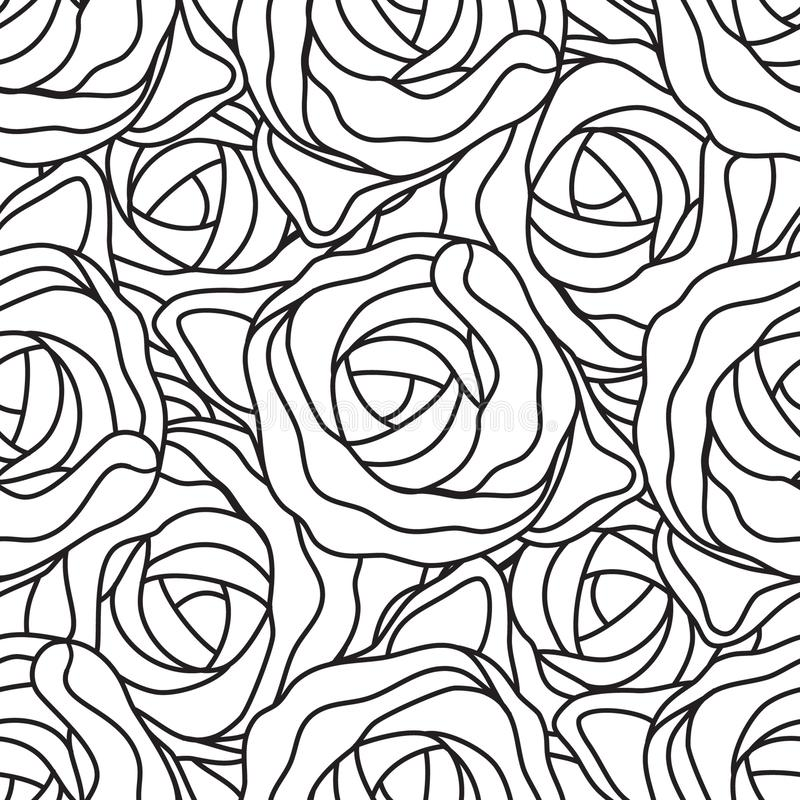 Graphic abstract stylized roses in black and white colors. Vector seamless modern pattern.  vector illustration