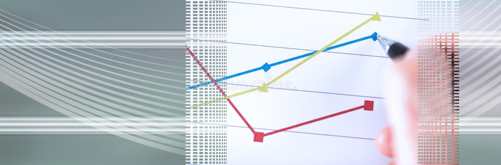 Graphic analysis; panoramic banner. Graphic analysis, closeup; panoramic banner royalty free stock photos