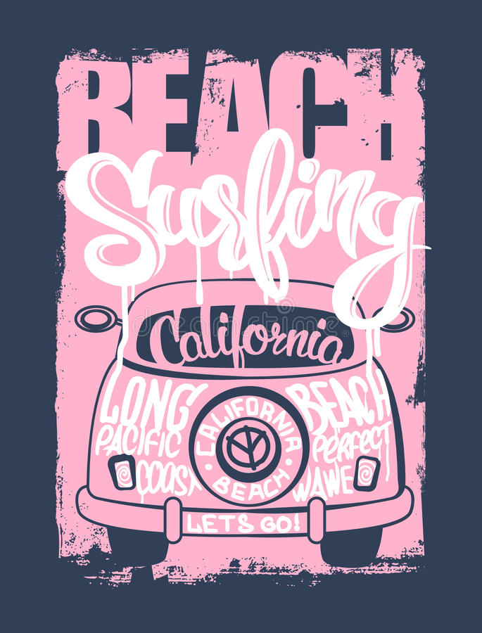 Graphic for apparel. Beach surfer emblem shirt vector illustration
