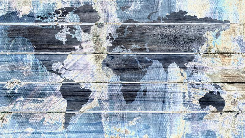 Graphic art design world map on wooden boards with blue and white abstract paintings royalty free stock photos