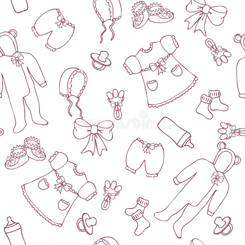 Graphic baby girl seamless pattern stock image