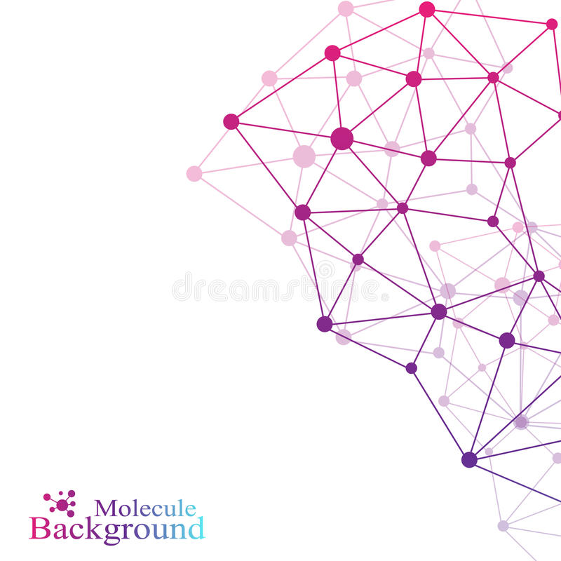 Graphic background communication. Structure molecule dna, neurons, atom. Social network information. Connected lines royalty free illustration
