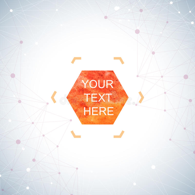 Graphic background dots with connections . Watercolor hexagon shapes for your text and design. Vector illustration stock illustration