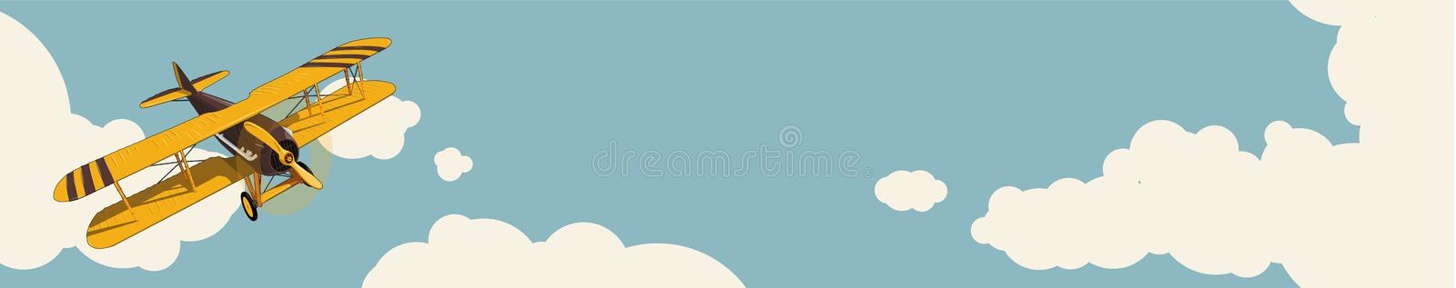 Graphic background. Yellow plane flying over sky with clouds in vintage color stylization. Horizontal web banner layout. royalty free illustration