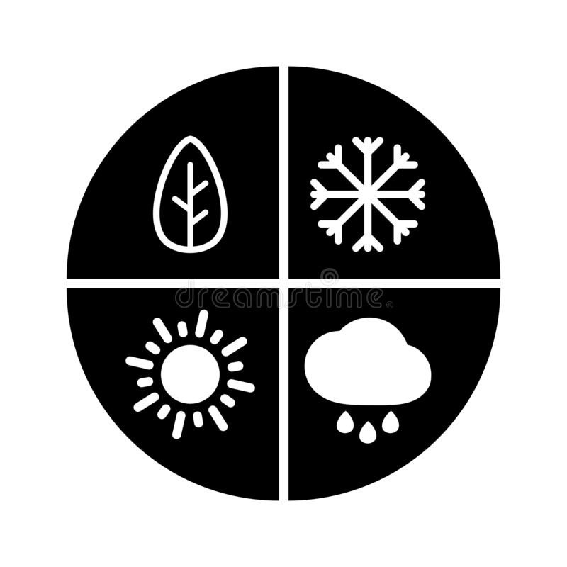 Graphic black flat vector all four seasons icon isolated. Winter, spring, summer, autumn - all year round sign. Snow, rain and sun vector illustration