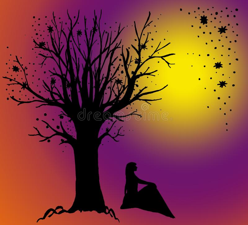 Girl sits under a tree, admiring the moon. Graphic landscape on gradient background. Graphic black and white landscape on a color gradient background. A girl is royalty free illustration