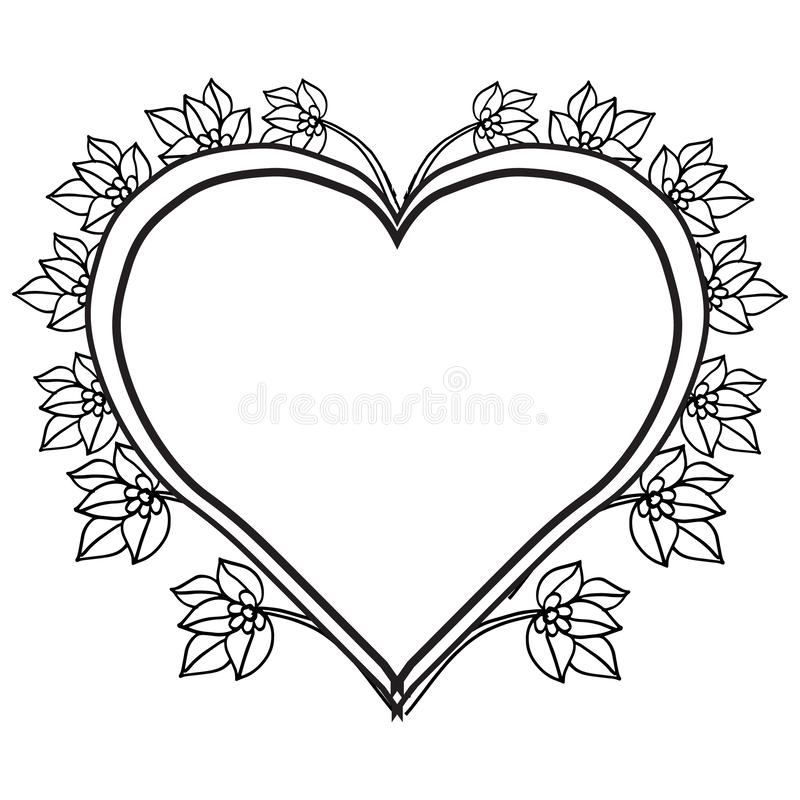 Graphic card with vintage flowers, feature cute floral frame. Vector. Illustration royalty free illustration