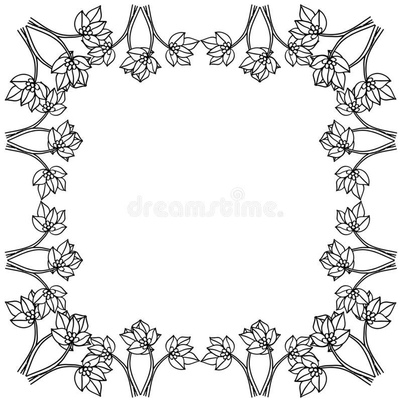 Graphic card with vintage flowers, feature cute floral frame. Vector. Illustration vector illustration