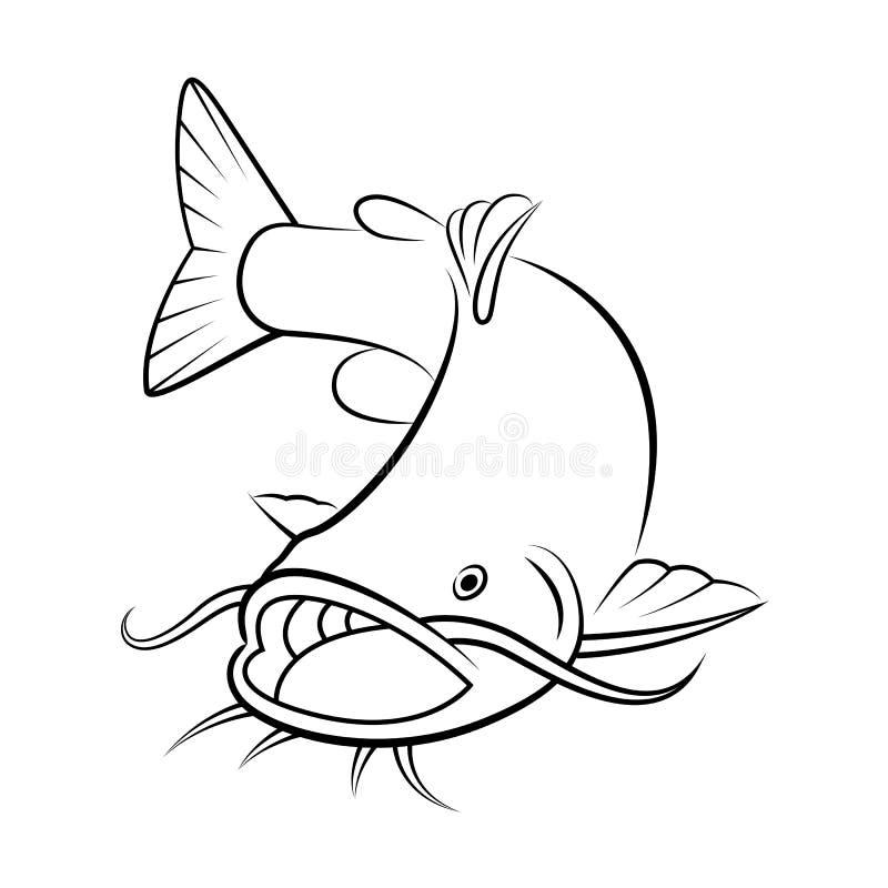 Graphic catfish, vector royalty free illustration