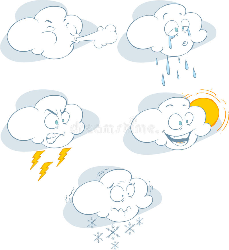 Graphic collection of different clouds on a white background vector illustration