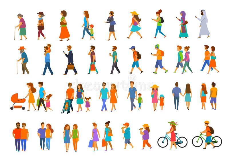 Graphic collection of people walking.family couples,parents, man and woman different age generation walk. With bikes,smartphones, coffee,eat,texting,talking royalty free illustration