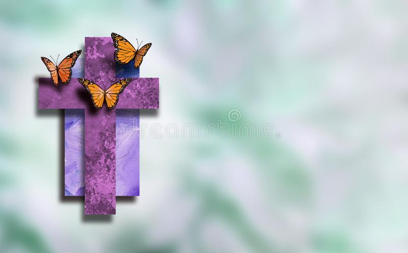 Graphic Christian Cross with new life Butterflies with soft blur background royalty free illustration