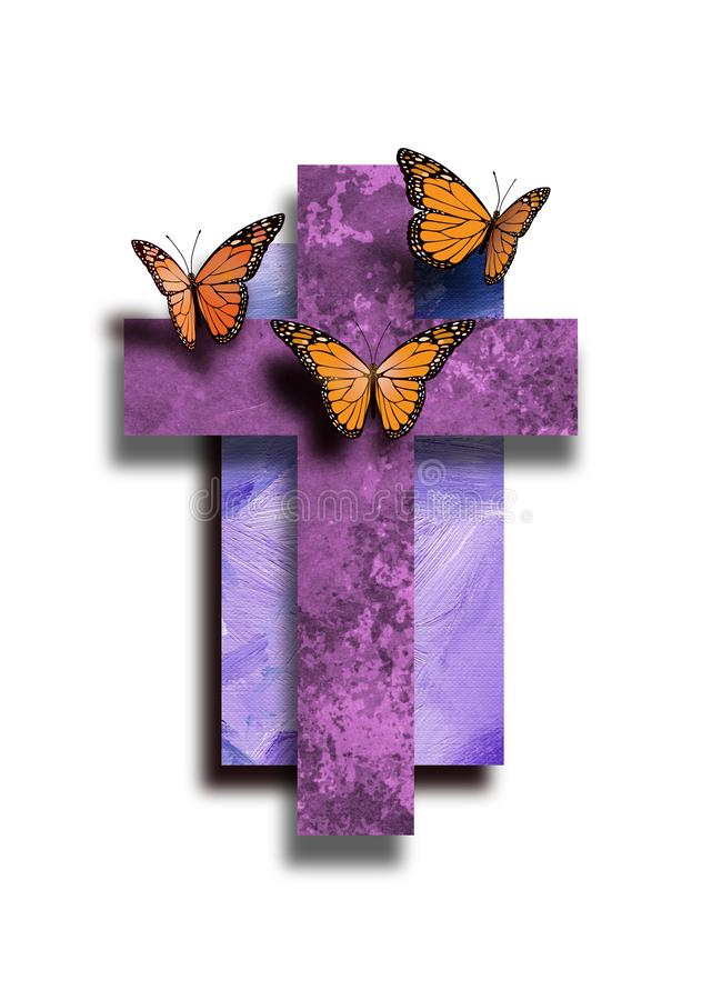 Graphic Christian Cross with new life Butterflies royalty free illustration