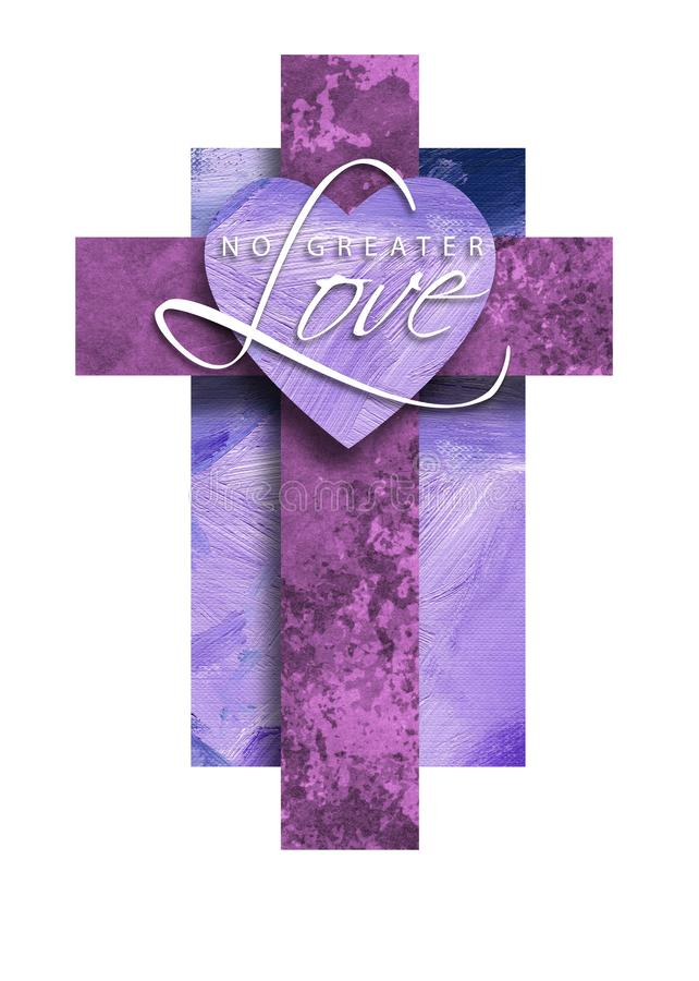 Graphic Christian Cross with No Greater Love Heart royalty free illustration