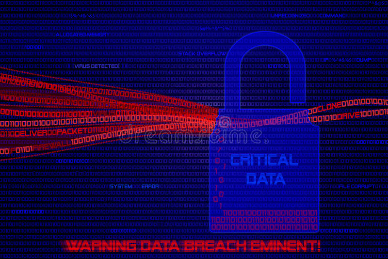 Graphic of computer data being stolen by hackers. royalty free illustration