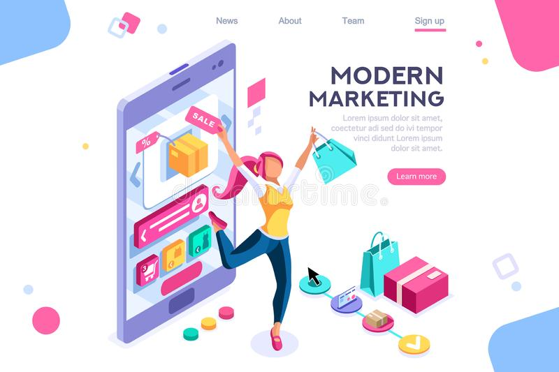 Graphic Buyer Consumerism Interface Concept. Concept, buyer graphic, consumerism design. Buyer, e-commerce interface, items. Layout used for consumerism online royalty free illustration