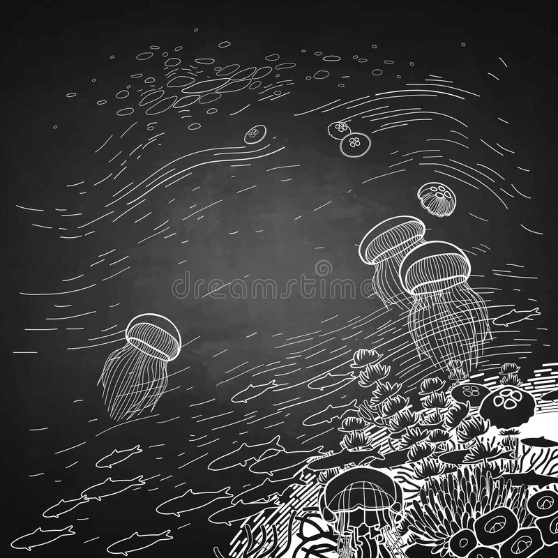 Graphic coral reef design with jellyfish. Graphic coral reef jellyfish floating to the surface of the water. Ocean vector card isolated on white background stock illustration