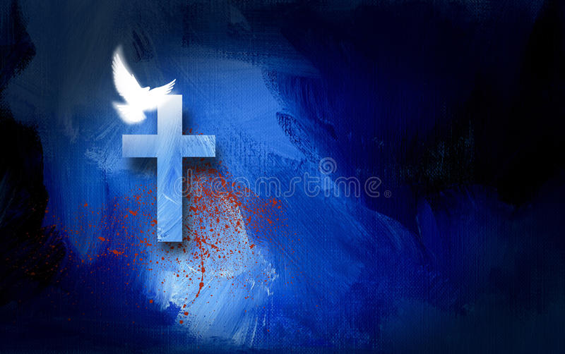 Graphic Cross and Dove with spatter of blood. Conceptual graphic illustration of Christian cross with white dove and blood spatter, symbolizing the cost of Jesus