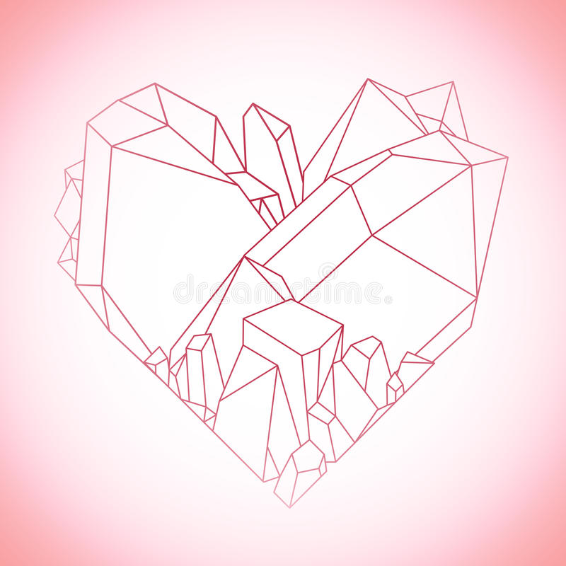 Graphic crystal heart. Graphic crystals in the shape of heart drawn in line art style. Vector Valentine day design in pink colors on white background vector illustration