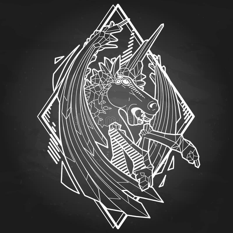 Graphic demonic unicorn stock illustration