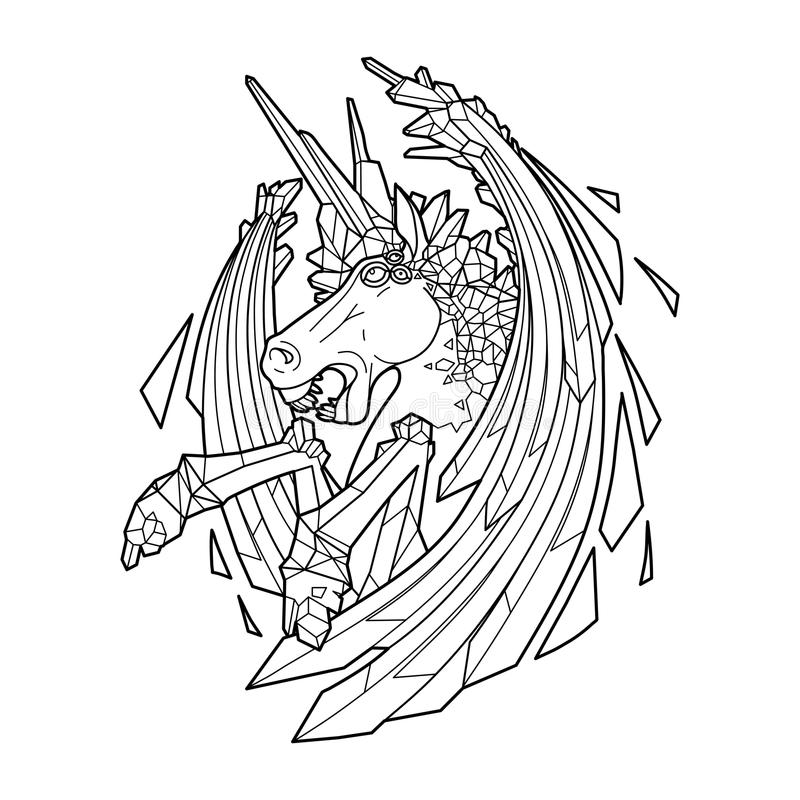Graphic demonic unicorn royalty free illustration