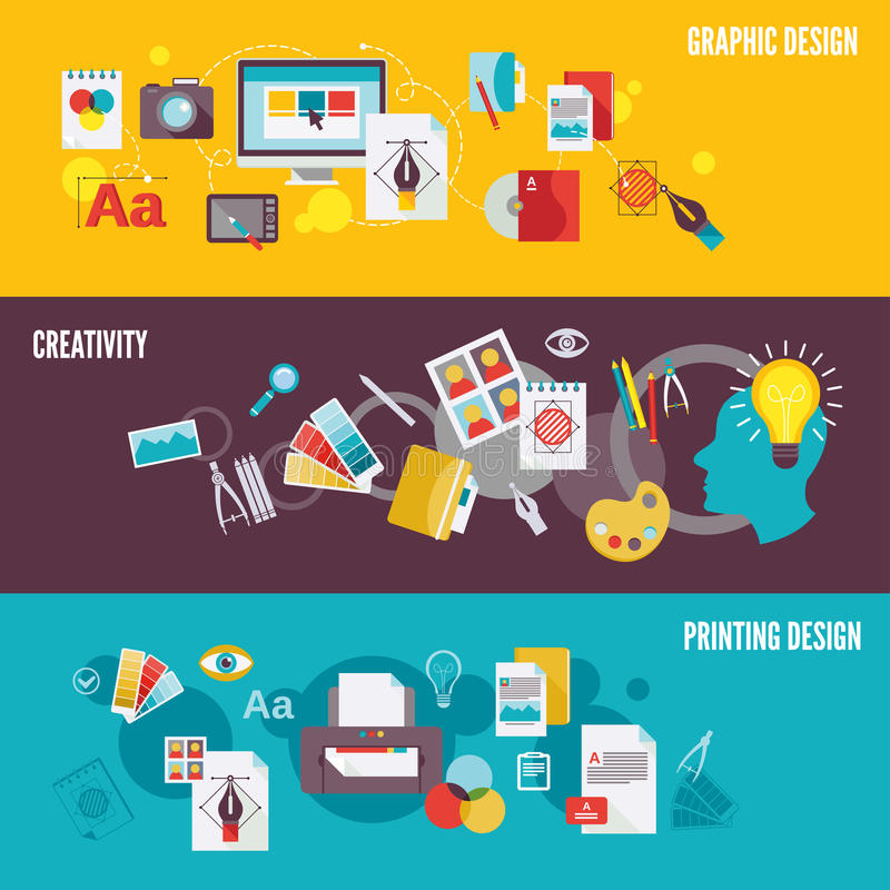Graphic design banner set stock illustration