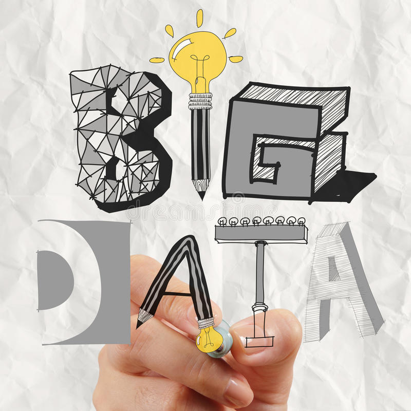 Graphic design BIG DATA word as concept. Close up of business hand drawing graphic design BIG DATA word as concept royalty free stock photography