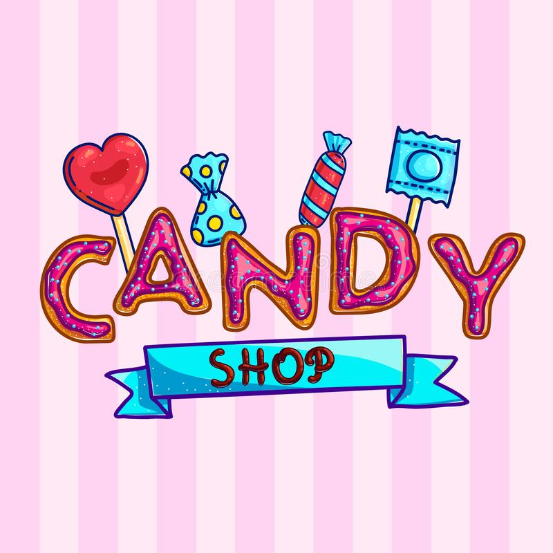 Banner for candy shop with sweets vector illustration