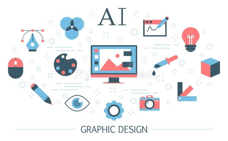 Graphic design concept. Idea of digital art royalty free illustration