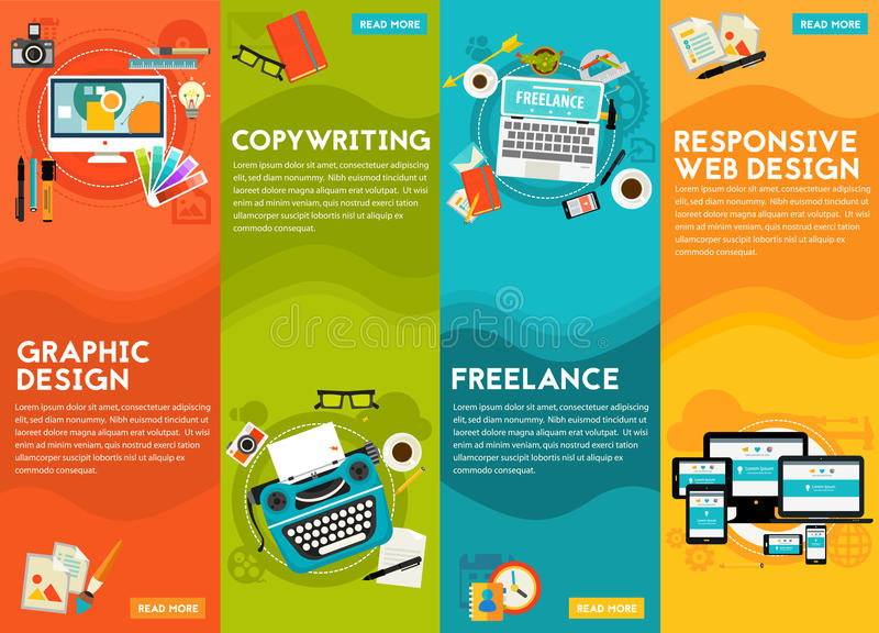 Graphic Design , Copywriting, Responsive Webdesign and Freeance Concept royalty free illustration