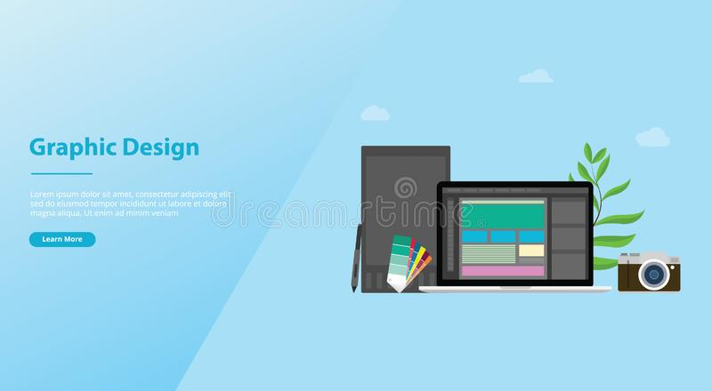 Graphic design and designer concept with team people and some tools like pen tablet pantone for website template or landing royalty free illustration